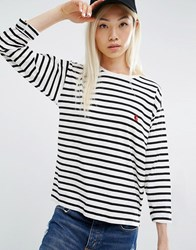 Carhartt Wip Long Sleeve Robie T Shirt In Stripe Print Stripe White