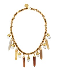 Ashley Pittman Yellow Agate And Crystal Prism Bib Necklace