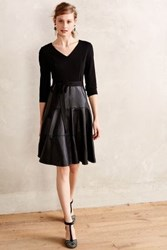 Anthropologie Vegan Leather Fit And Flare Dress Black