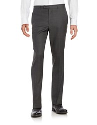 Kenneth Cole Wool Blend Straight Leg Pants Charcoal
