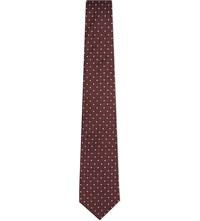 Reiss Xaviar Polka Dot Silk Tie Bordeaux