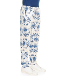 Alexander Mcqueen Bandana Print Cotton Trousers Blue White