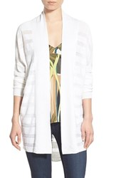 Trouve Women's Trouve Sheer Stripe Cocoon Cardigan White