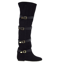 Park Lane Strap Over The Knee Boots Black