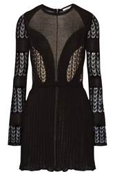 Dagmar Elisa Open Back Lace And Stretch Knit Mini Dress Black