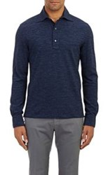 Isaia Long Sleeve Polo Shirt Blue Size Extra Extra Large