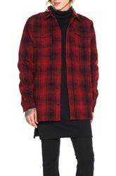 Off White Tartan Button Up In Red Checkered And Plaid