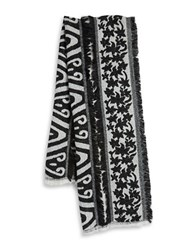 Bindya Mixed Knit Fringe Scarf Black