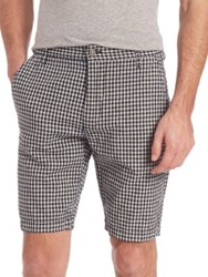 7 For All Mankind Gingham Print Chino Shorts Indigo