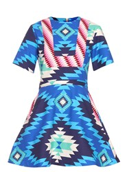 House Of Holland Short Sleeved Geometric Ikat Print Dress