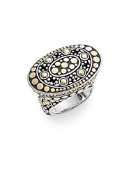 John Hardy Dot Jaisalmer East West 18K Yellow Gold And Sterling Silver Oval Ring Silver Gold