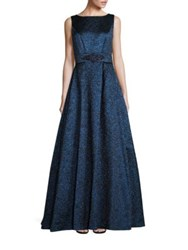 Theia Brocade A Line Ball Gown Indigo