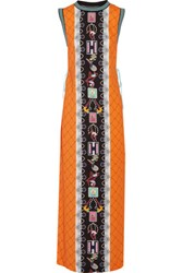 Adidas Originals Mary Katrantzou Lace Paneled Printed Crepe Maxi Dress Orange