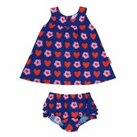 Toby Tiger Heart Flower Baby Dress Red Blue Pink