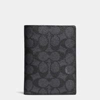 Coach Passport Case In Signature Coated Canvas Charcoal