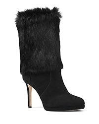 Michael Michael Kors Faye Rabbit Fur And Suede Mid Calf High Heel Booties Black