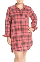 Make Model Plus Size Women's Plaid Cotton Blend Nightshirt Red Beauty Riley Plaid