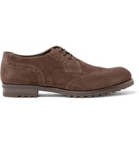 Harry's Of London Harrys Gage Suede Wingtip Brogues Dark Brown