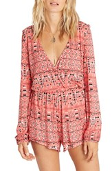 Billabong Women's Picture Perfect Print Romper Spiced Coral Pink