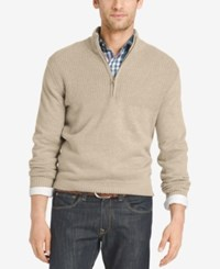 Izod Men's Dual Texture Quarter Zip Sweater Rock Heather