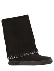 Casadei 90Mm Suede Wedge Sneakers W Chain Trim
