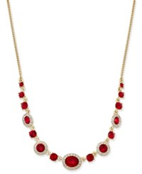 Givenchy Gold Tone Red Crystal Necklace