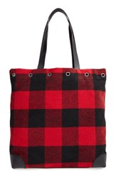 Treasure And Bond Mixed Media Tote Red Red Rio Plaid