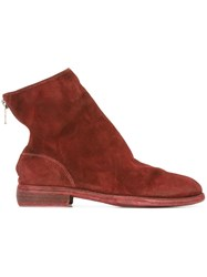 Guidi Reverse Back Zip Boots Red