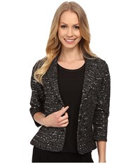 Adrianna Papell Elbow Sleeve Lurex Sequins Jacket Black Women's Coat