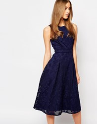 Warehouse Premium Lace Midi Skater Dress Navy
