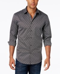 Alfani Big And Tall Men's Dobby Long Sleeve Shirt Only At Macy's Deep Black