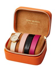 Tory Burch Reva Stainless Steel Leather Strap Watch Multi Colored
