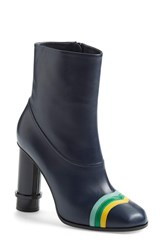 Women's Loewe Column Ankle Boot Navy Blue Leather