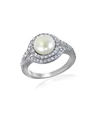 Lord And Taylor Faux Pearl Cubic Zirconia Sterling Silver Halo Ring