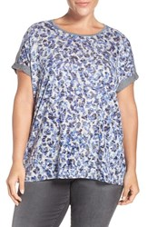 Vince Camuto Plus Size Women's Two By Animal Print Front Cuffed Tee Optic Blue