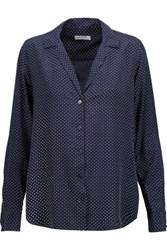 Equipment Adalyn Polka Dot Washed Silk Blouse Navy
