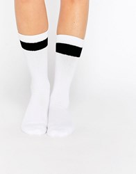Monki Block Stripe Sock White