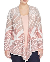 Nic And Zoe Plus Sunset Coral Jacquard Cardigan Multi