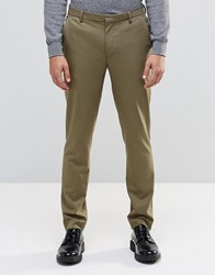 Asos Skinny Trousers In Khaki Burnt Olive Green