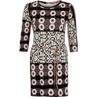 River Island Womens Black Printed Stretch Jersey Belted Tunic