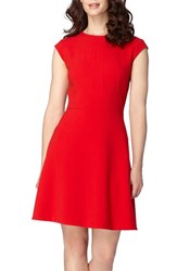 Tahari Women's Seamed Crepe Fit And Flare Dress