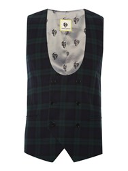Noose And Monkey Men's Double Breasted Check Waistcoat Green