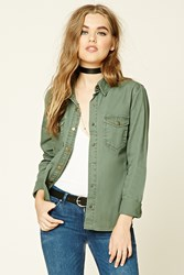 Forever 21 Snap Button Cotton Jacket Olive
