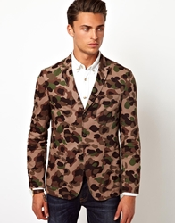 Asos Slim Fit Cotton Blazer In Camo Khaki