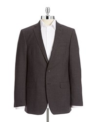 Dkny Check Slim Fit Wool Sports Jacket Grey