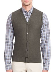 Saks Fifth Avenue Merino Wool And Silk Sweater Vest Green Blue