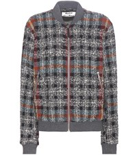 Acne Studios Azura Wool Blend Tweed Bomber Jacket Grey