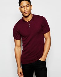 Asos Merino Wool Muscle Fit Short Sleeve Polo Red