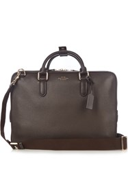 Smythson Burlington Leather Briefcase Bag Brown