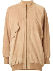 Celine Vintage Oversized Bomber Jacket Nude And Neutrals
